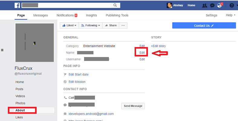 how to change facebook page name - edit