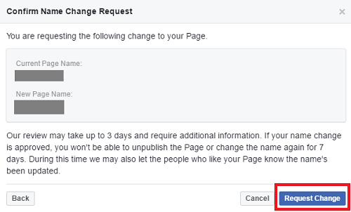how to change name of facebook page - request