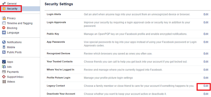 how to choose someone as facebook legacy conatct