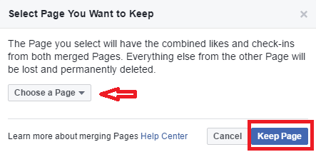 how to combine two facebook pages int one - request