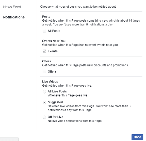 how to customize Facebook Page notification settings - all settings