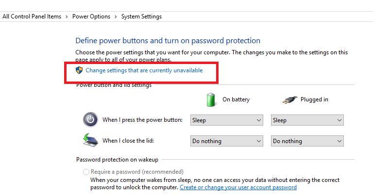 change current settings