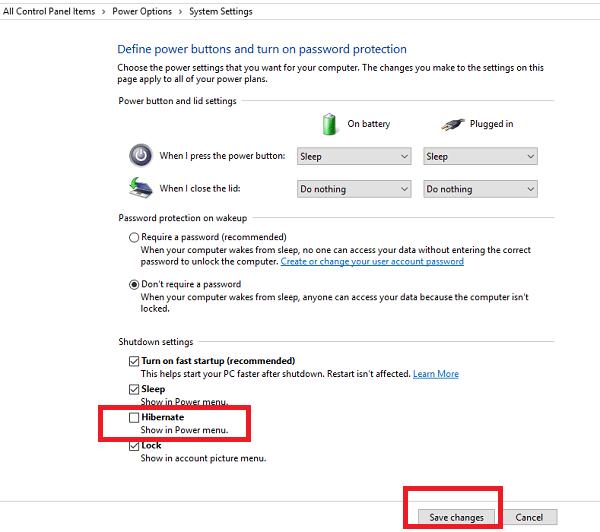 how to turn on or off hibernate on windows 10
