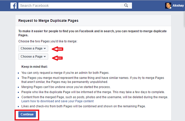 how to merge two facebook pages into one - choose pages