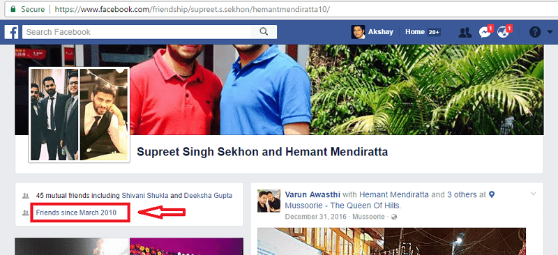 how to see when people became friends with on facebook - friend since date