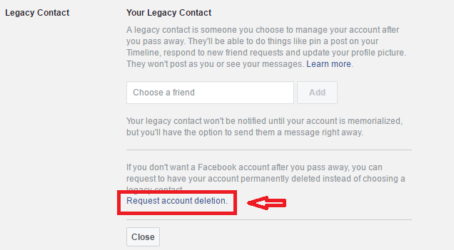 how to setup facebook account to delete automatically after death