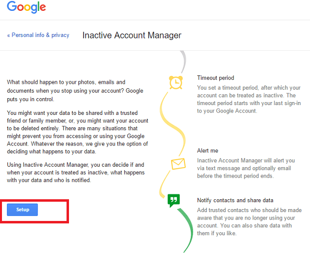 how to setup google inactive account manager