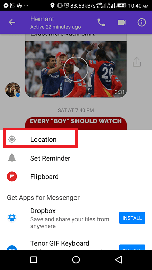 how to share real time on facebook messenger - location