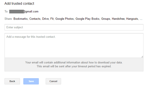 what happens to your gmail account when you die - trusted contacts email message