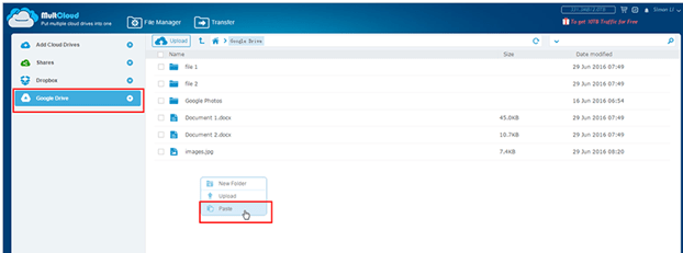 Copy and Paste Data across different Cloud Drives