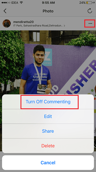 Disable Comments on Instagram posts