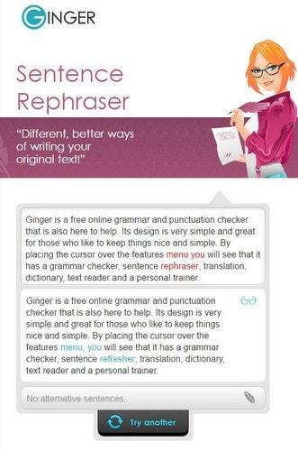 Ginger Sentence rephraser