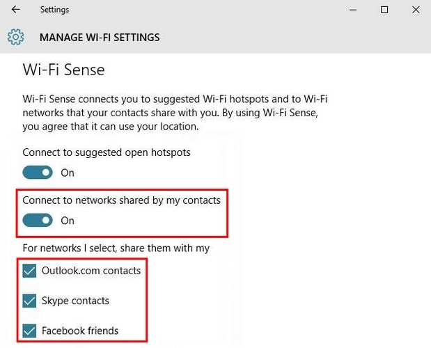 How to turn off WiFi Sense Windows 10