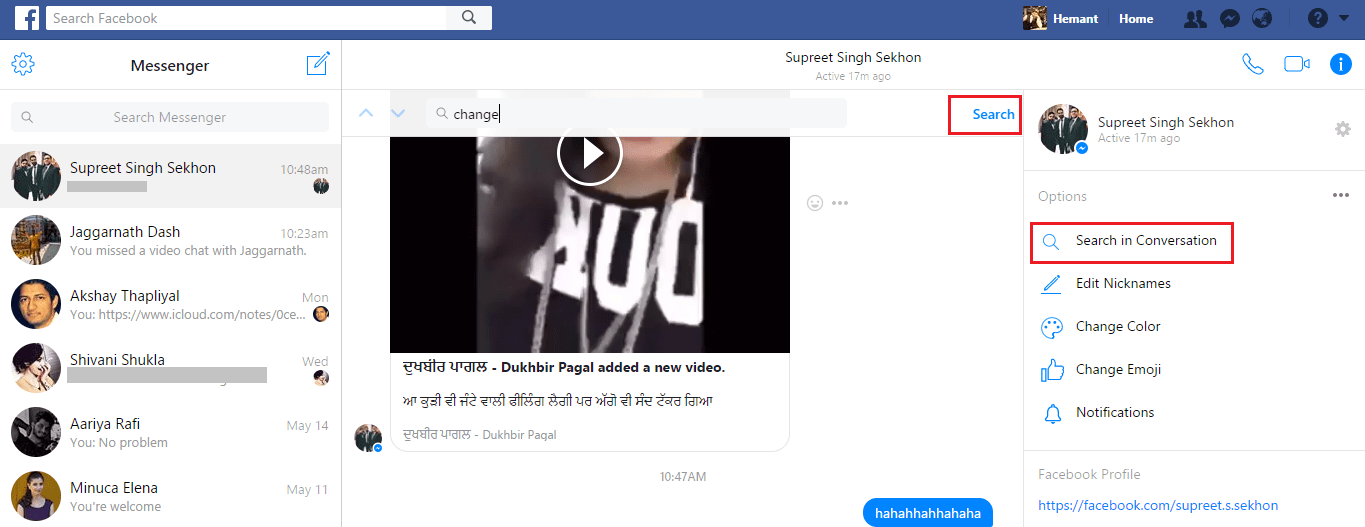 Search in specific Messenger conversation
