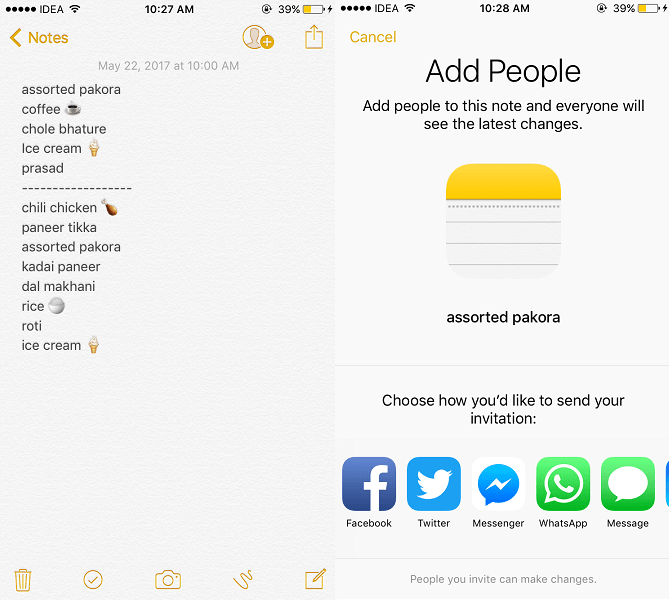 Share a Note with Multiple People to Work on it Collaboratively on iPhone