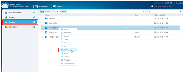 Transfer Data from one cloud drive to another
