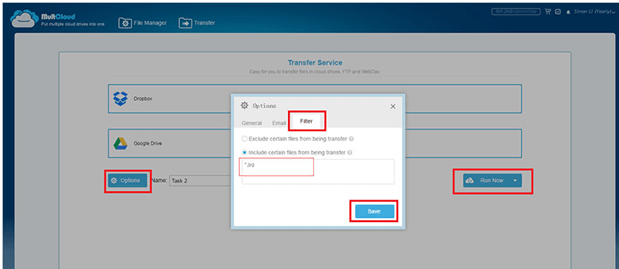 Transfer Specific Files from one cloud to another MultCloud