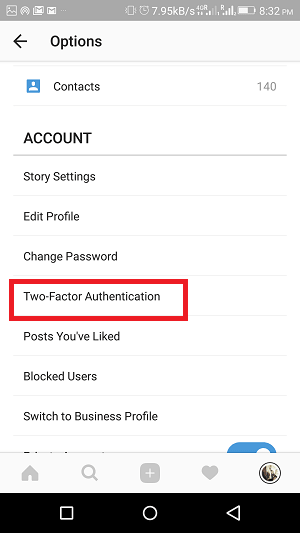 two factor authentication of Instagram - option