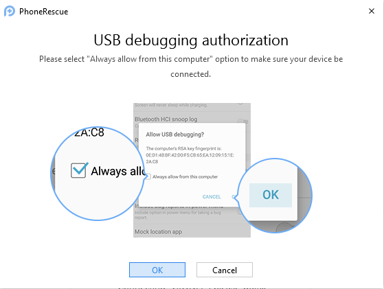 Allow USB Debugging Android device