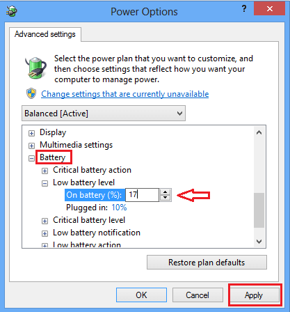 Change Low Battery Notification Level in Windows 8 10