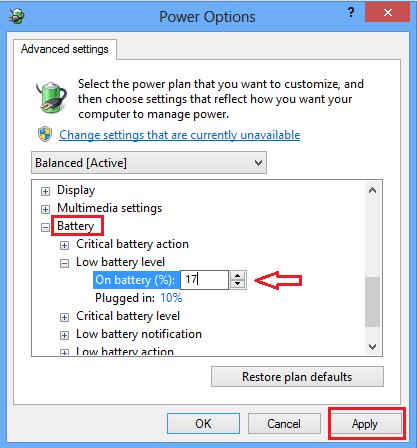 Change Low Battery Notification Level in Windows 8 10