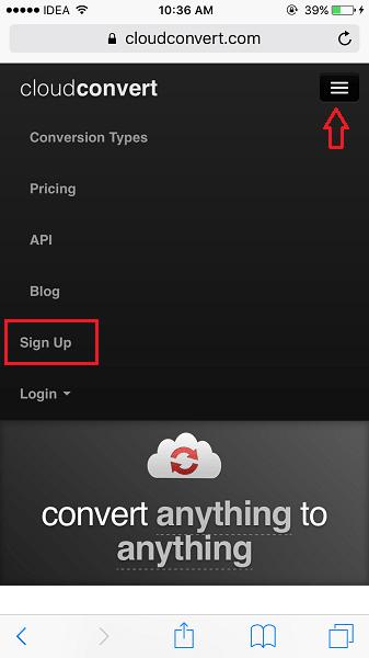 CloudConvert Sign Up