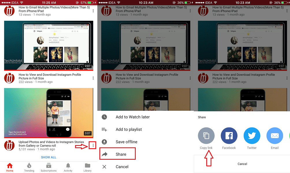 Copy YouTube Video URL App