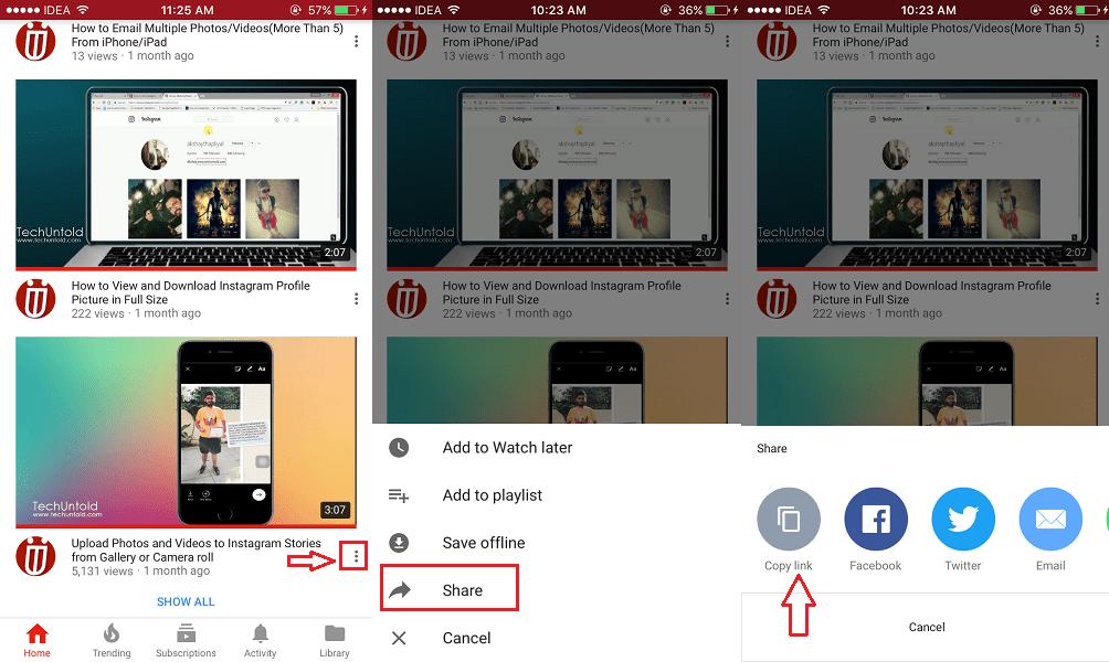 Copy YouTube Video URL App