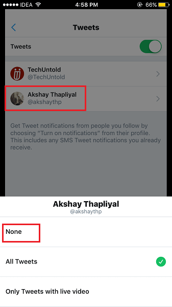 Disable Twitter Push Notifications for particular users