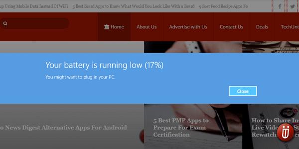 Low Battery Notification Windows 8 10