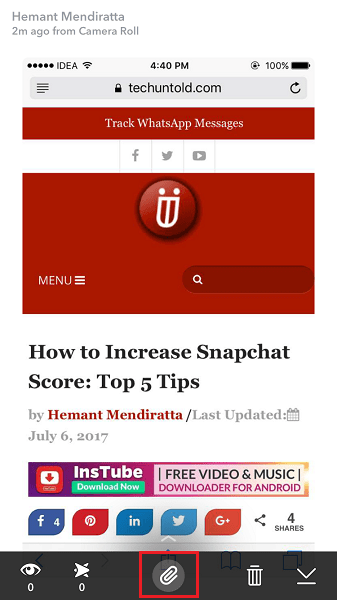 Add links to Snapchat Stories or Chats