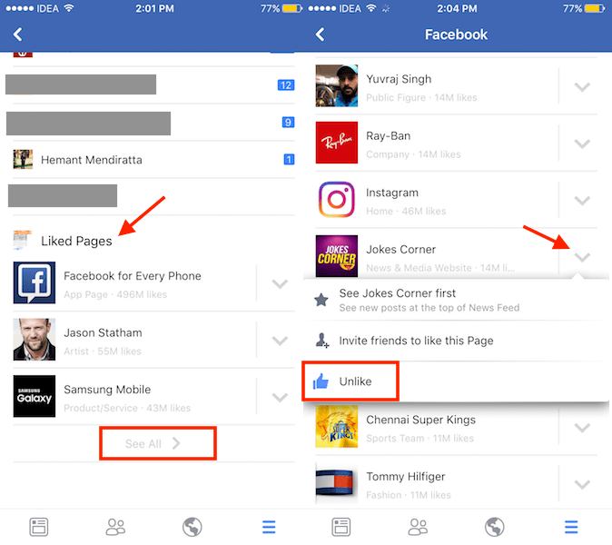 How to See Liked Pages on Facebook app android and iPhone
