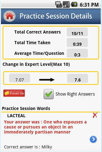 IntelliVocab app to learn new words