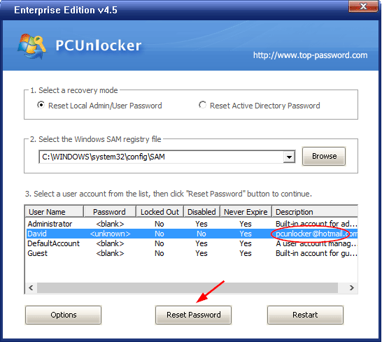 PCUnlocker - Reset Lost Windows 10 Password