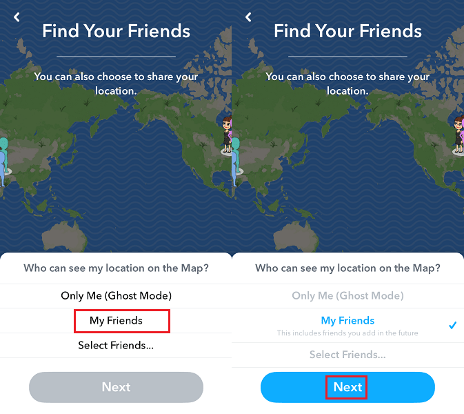 Share your location with friends on Snap Map