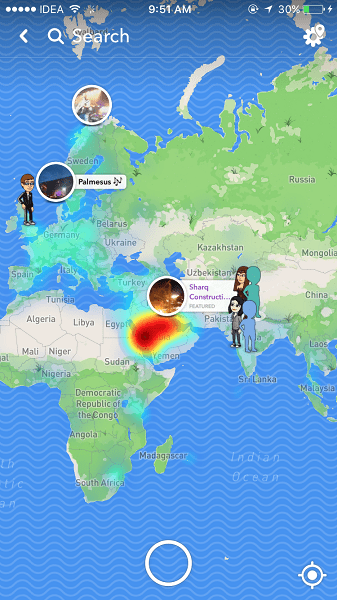 Snap Map Feature on Snapchat