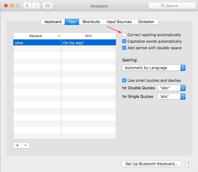 Turn Off Autocorrect on Mac