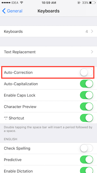 Turn off Autocorrect on iPhone or iPad