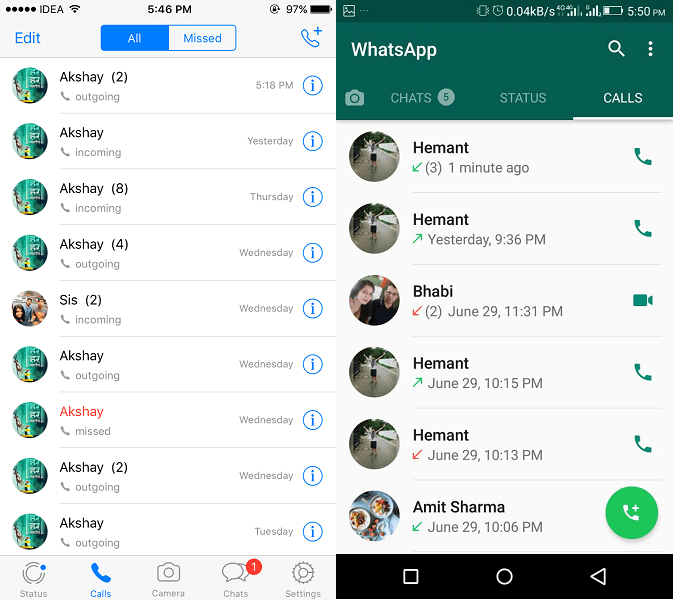 WhatsApp new Calls Tab