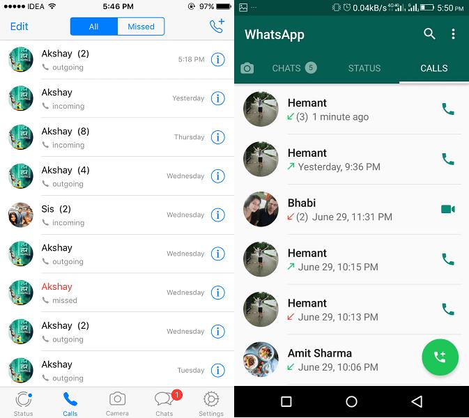 WhatsApp new Calls Tab