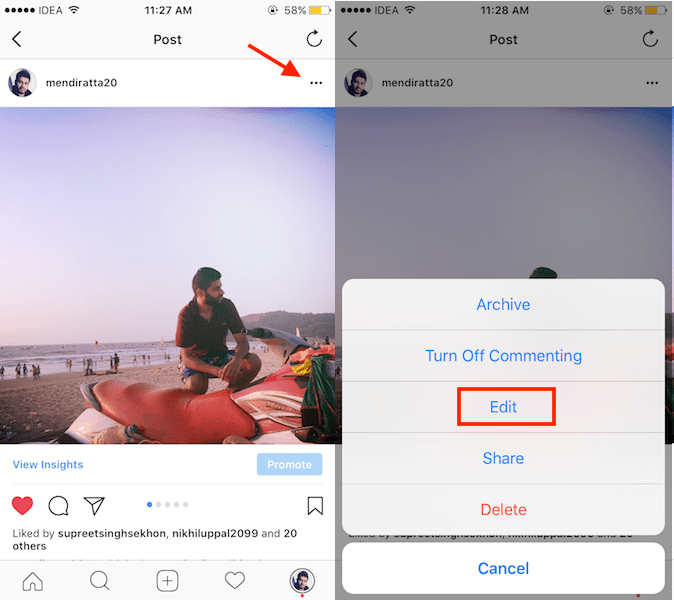 how to tag someone on instagram after posting multiple pictures