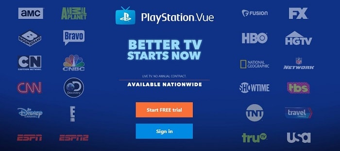live tv streaming sites - Play station vue