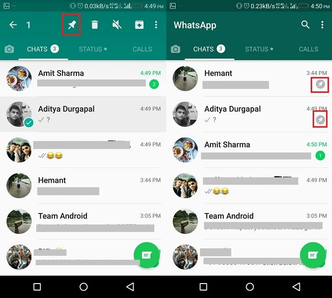 Pin WhatsApp chat on Android