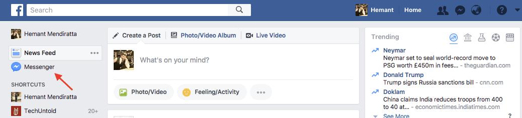 Filter Unread Messages on Facebook messenger
