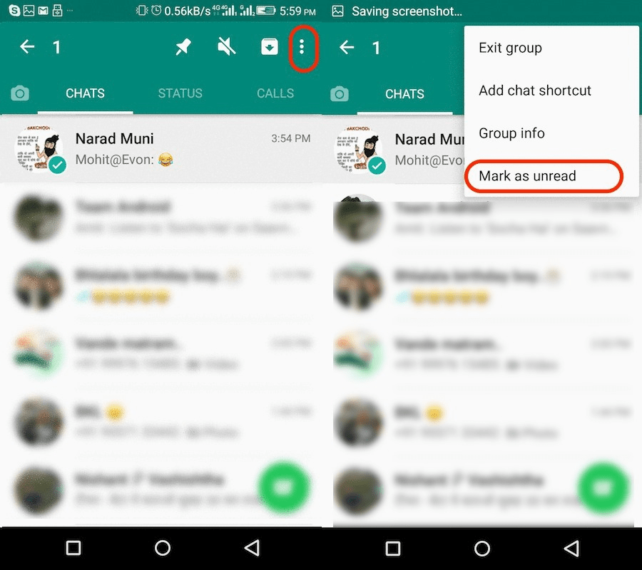 Mark as Unread o n WhatsApp for Android