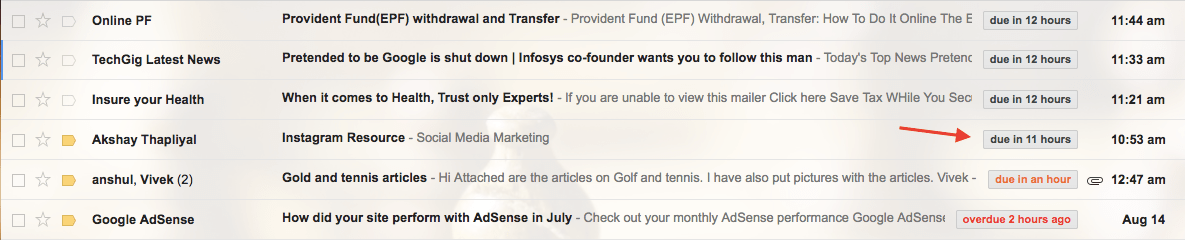 Reminder for Unread Emails in Gmail