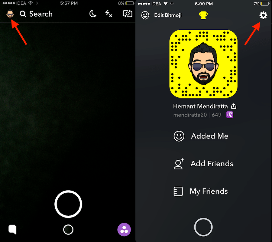 Snapchat app Settings