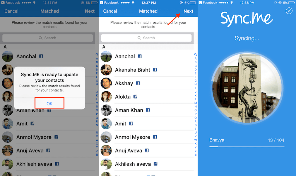 Sync Facebook profile pictures with contacts on iPhone and Android