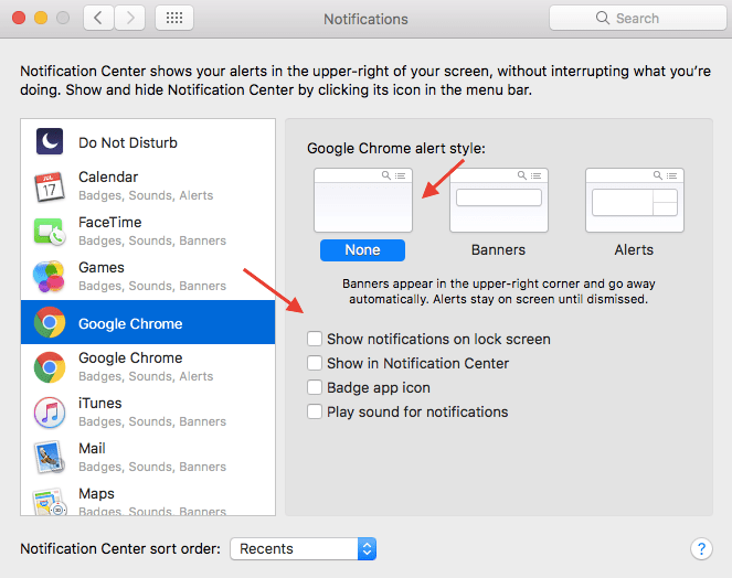 Turn off Push Notifications for Certain Mac apps