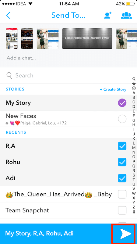 how to send multiple snaps at once on Snapchat